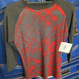 Lularoe XXS Randy Shirt Gray & Red 3/4 Sleeve NWT